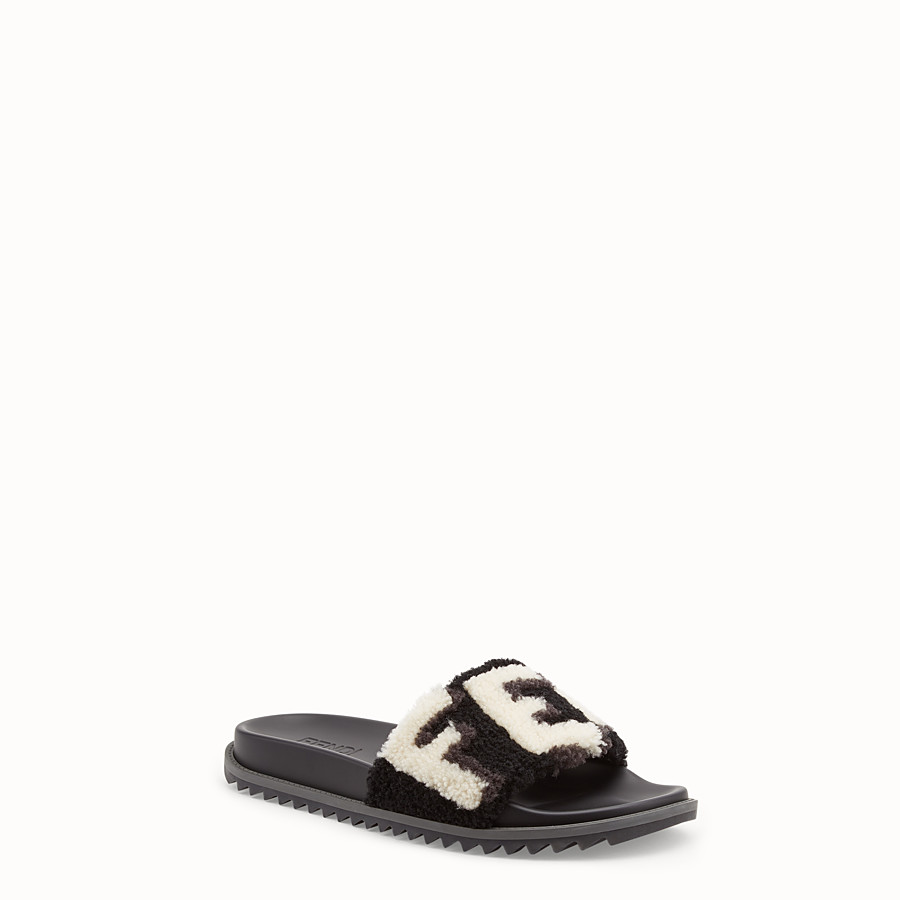FENDI SLIDES - Black sheepskin slides - view 2 detail