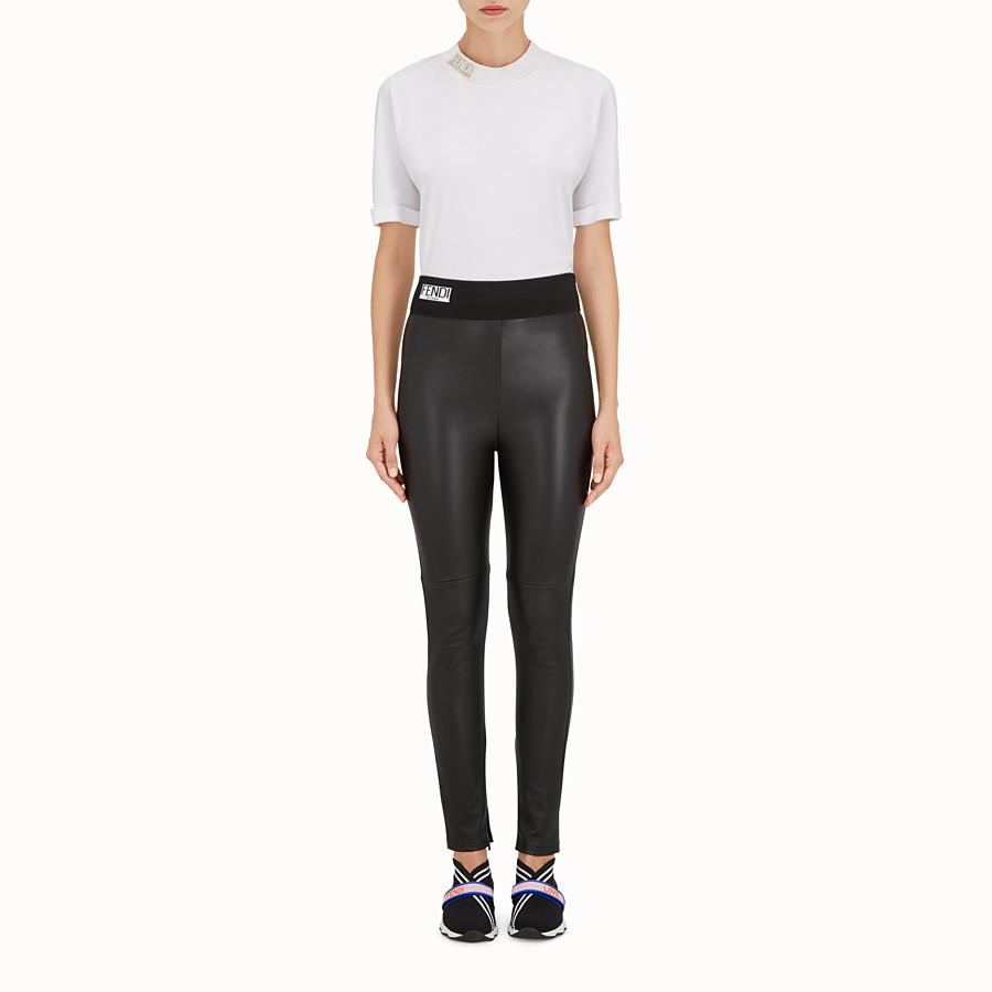 FENDI LEGGINGS - Black leather leggings - view 2 detail