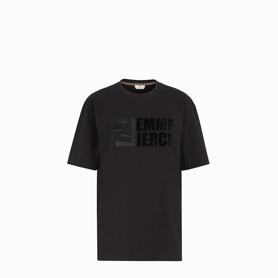 FENDI T-SHIRT - T-Shirt aus Baumwolle in Schwarz - view 1 detail