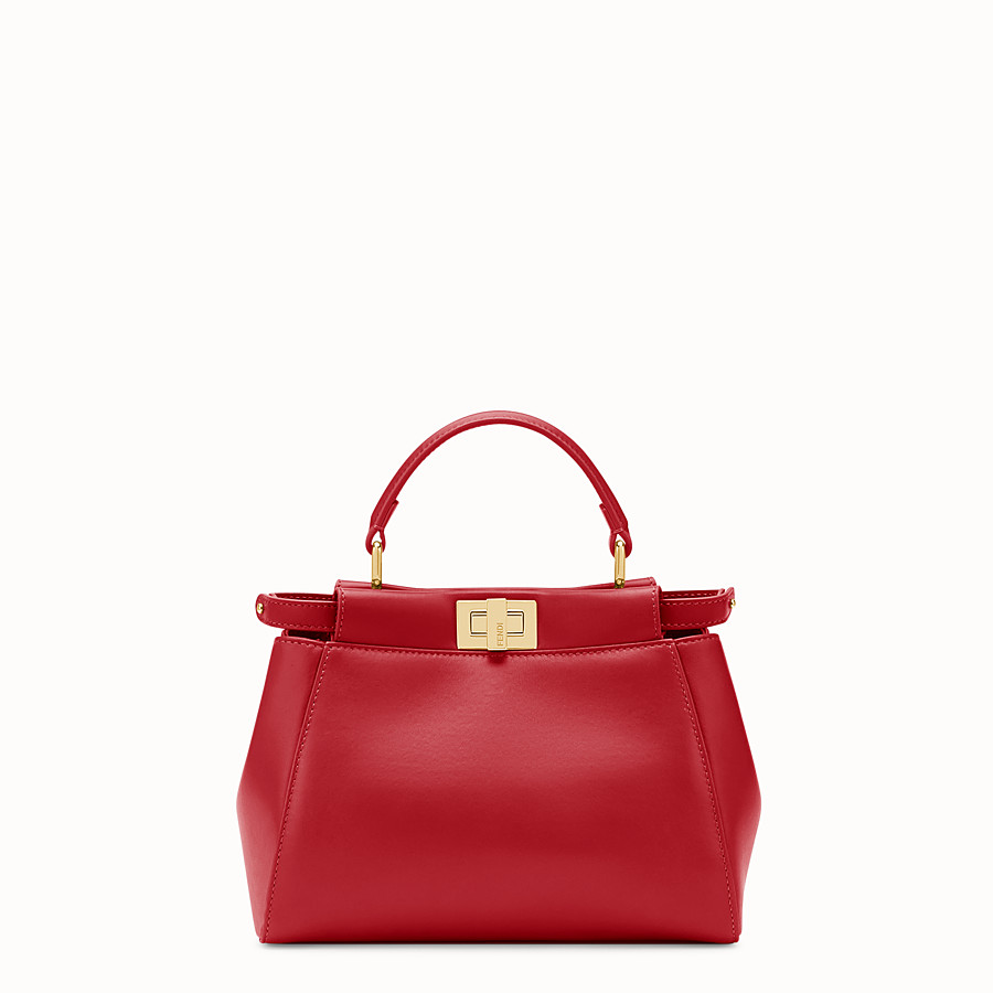 FENDI PEEKABOO ICONIC MINI - Tasche aus Leder in Rot - view 1 detail