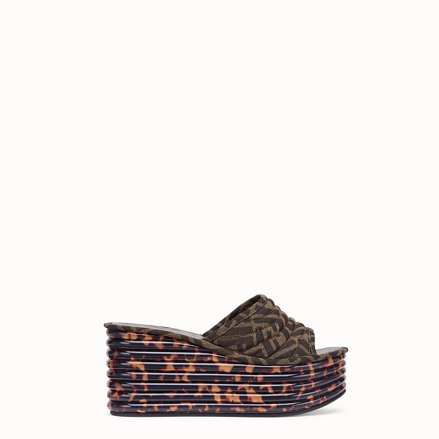 FENDI FLATFORM - Brown fabric sandals - view 1 detail