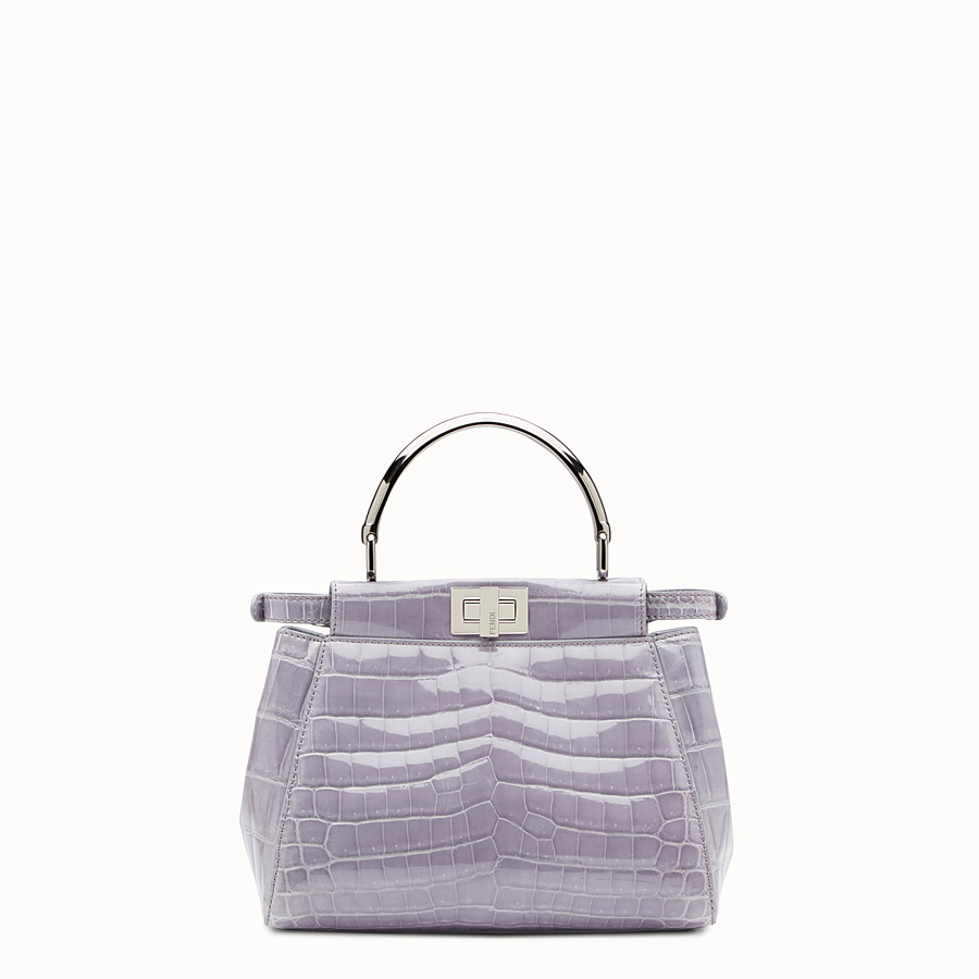 FENDI PEEKABOO MINI - Grey crocodile bag - view 3 detail
