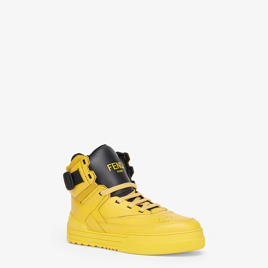 FENDI SNEAKERS - Yellow leather high-tops - view 2 detail