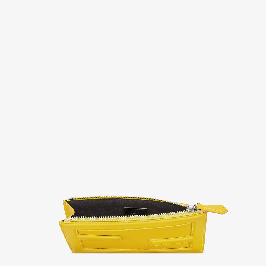 FENDI BAGUETTE POUCH SMALL - Yellow leather bag - view 3 detail