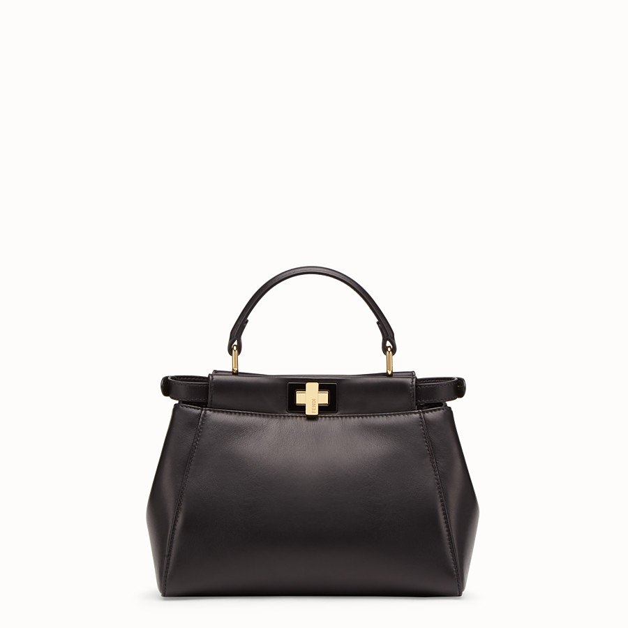 FENDI PEEKABOO ICONIC MINI - Black leather bag - view 3 detail