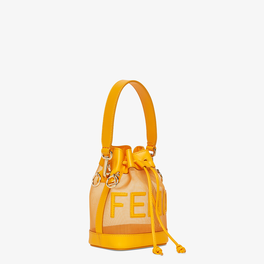 FENDI MON TRESOR - Orange leather and mesh mini-bag - view 3 detail