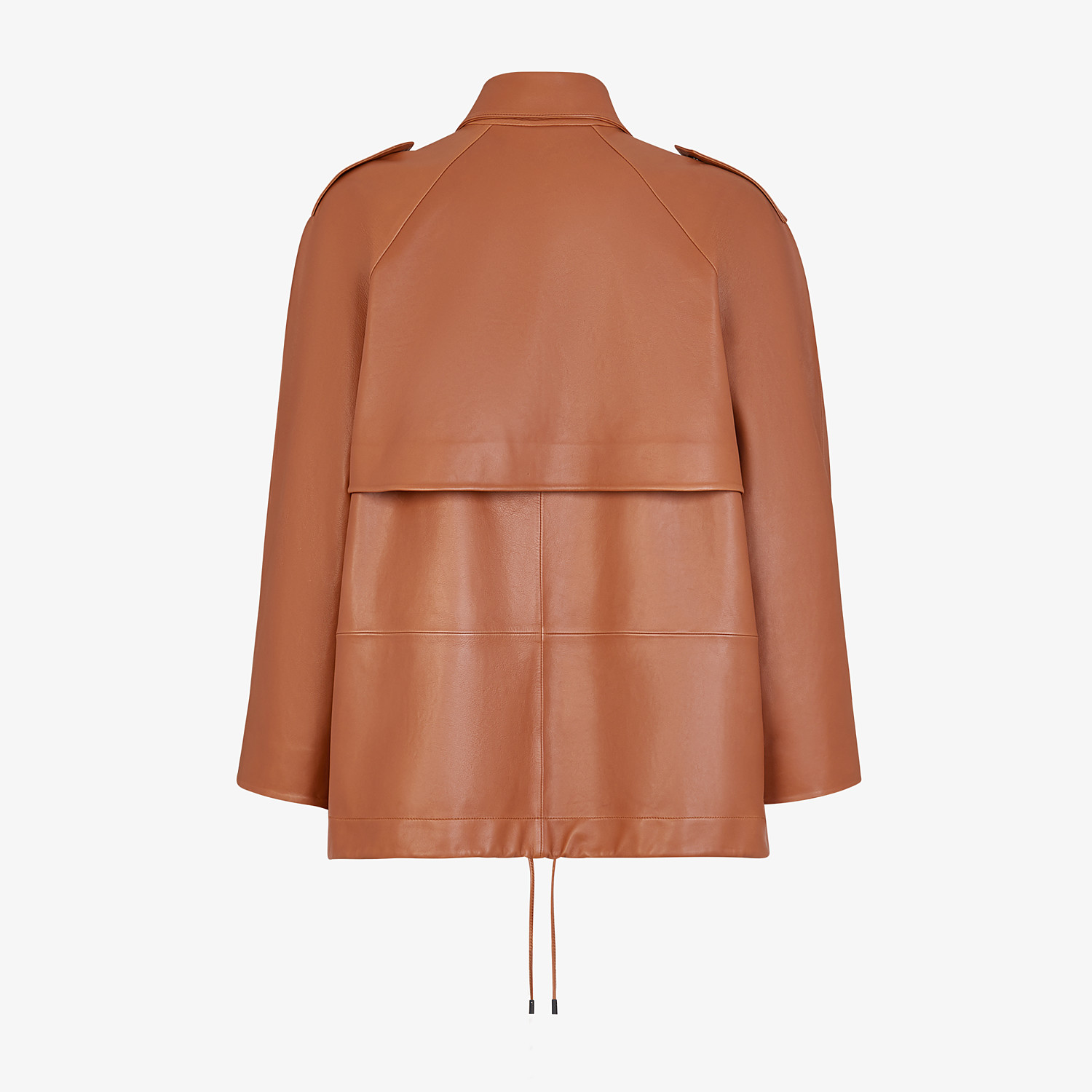 FENDI TRENCH COAT - Brown leather jacket - view 2 detail