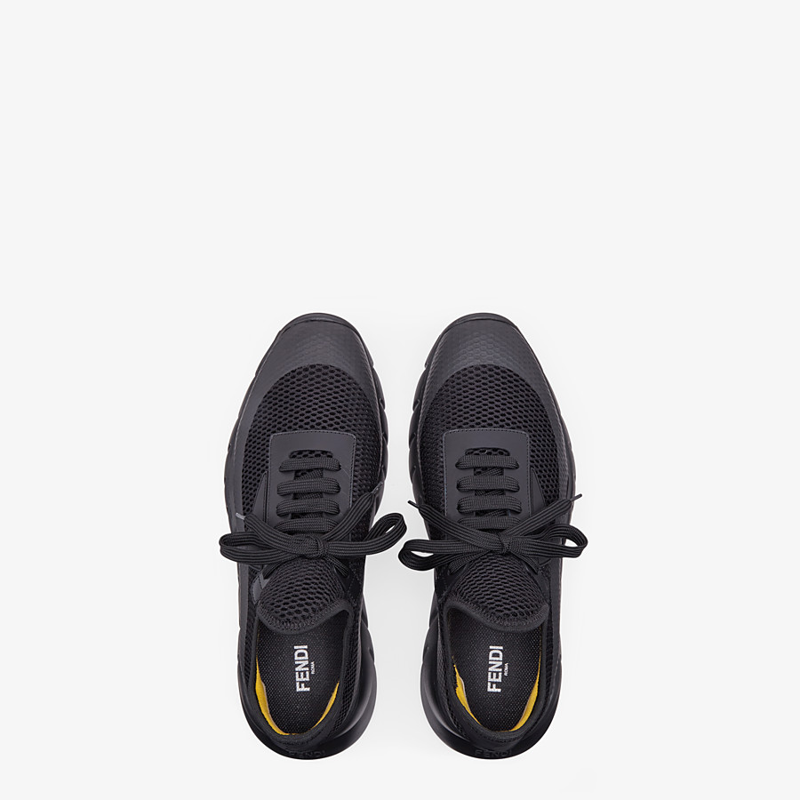 FENDI SNEAKERS - Black tech mesh running shoes - view 4 detail