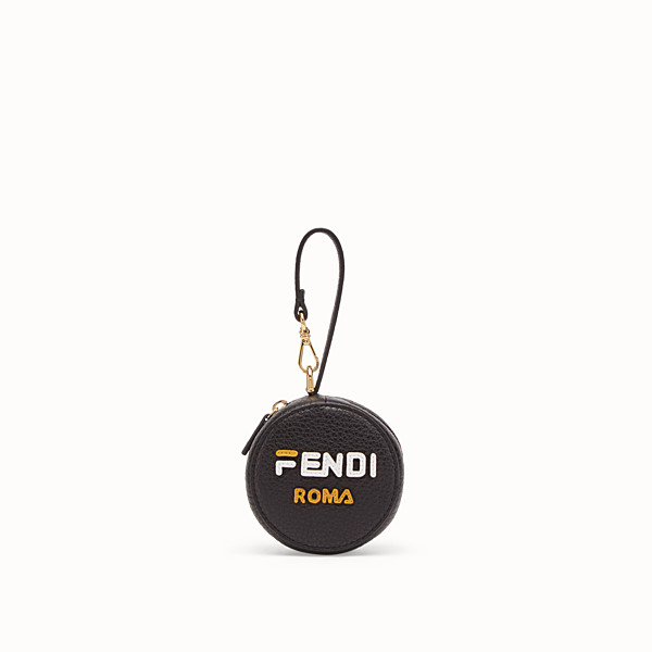 FENDI BACKPACK CHARM - Black leather charm with fabric backpack - view 1 small thumbnail