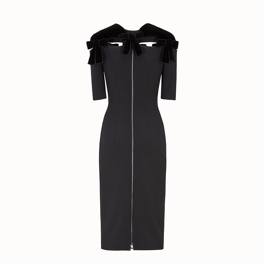 FENDI DRESS - Black wool dress - view 2 detail