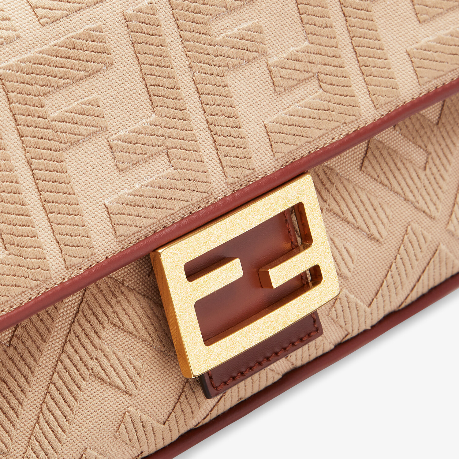 FENDI BAGUETTE - Beige FF canvas bag - view 5 detail