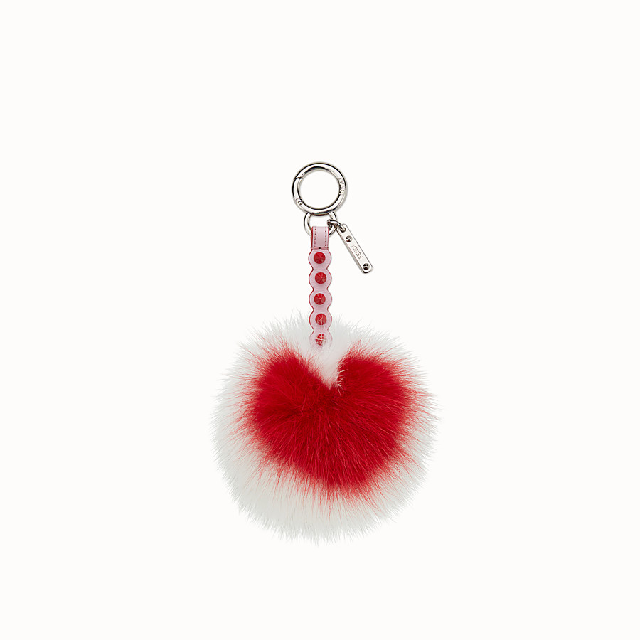 FENDI POMPOM CHARM - Charm in multicolour fox fur - view 1 detail