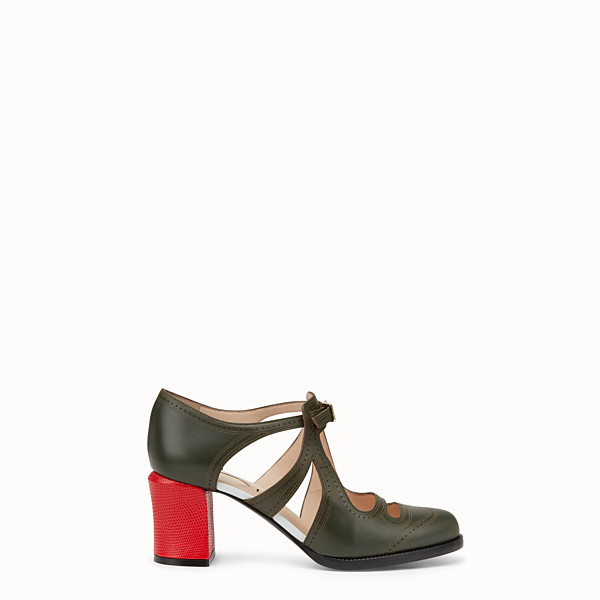 FENDI PUMPS - Green leather cut-out pumps - view 1 small thumbnail
