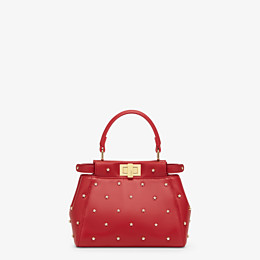 FENDI PEEKABOO ICONIC XS - Mini-Tasche aus Leder in Rot - view 1 thumbnail