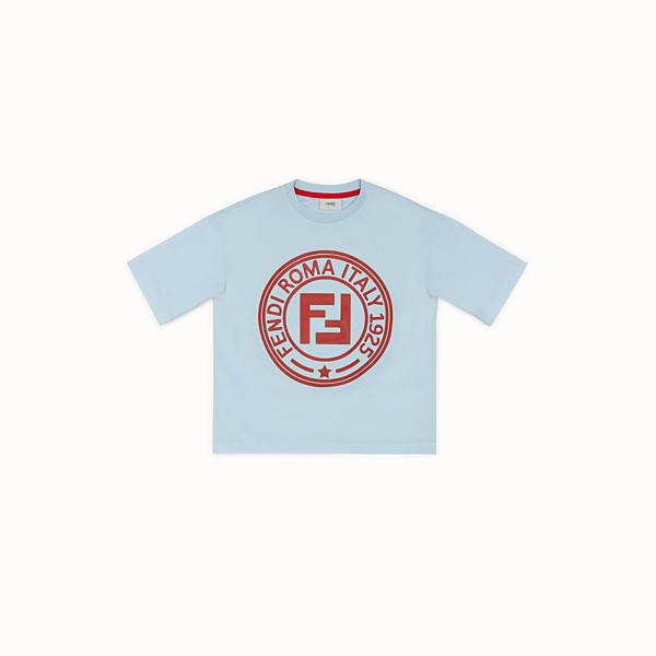 FENDI T-SHIRT - Sky blue cotton T-shirt - view 1 small thumbnail