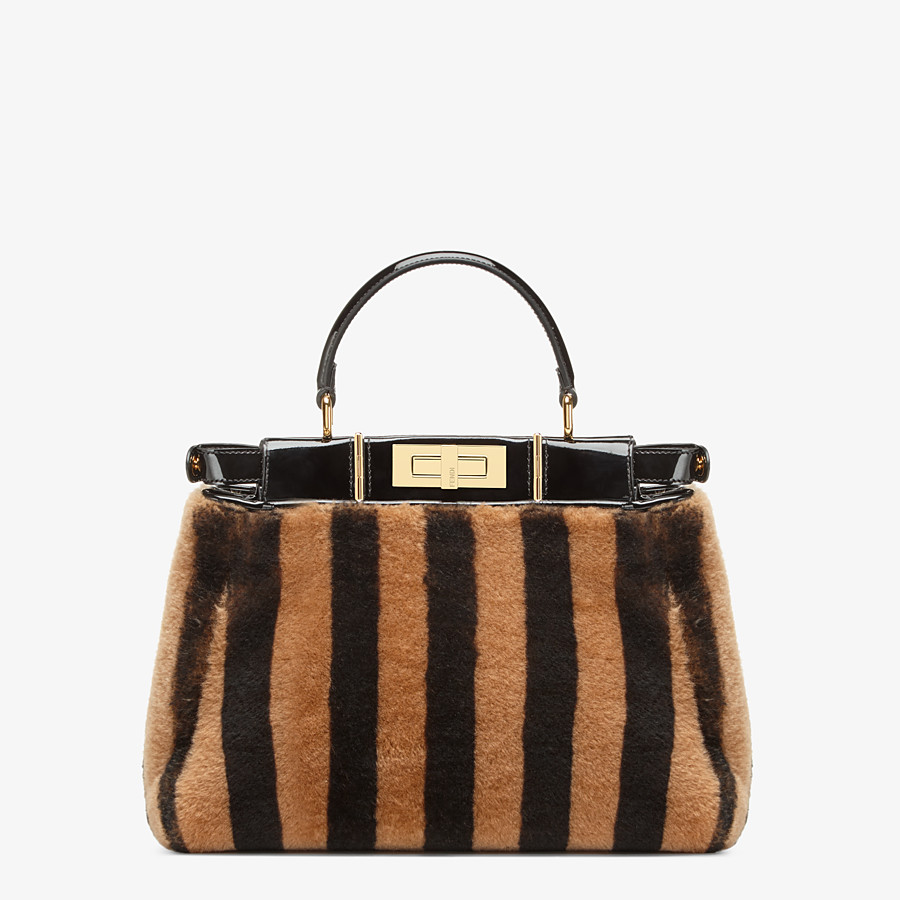 FENDI PEEKABOO ICONIC MEDIUM - Borsa in montone e vinile multicolor - vista 5 dettaglio