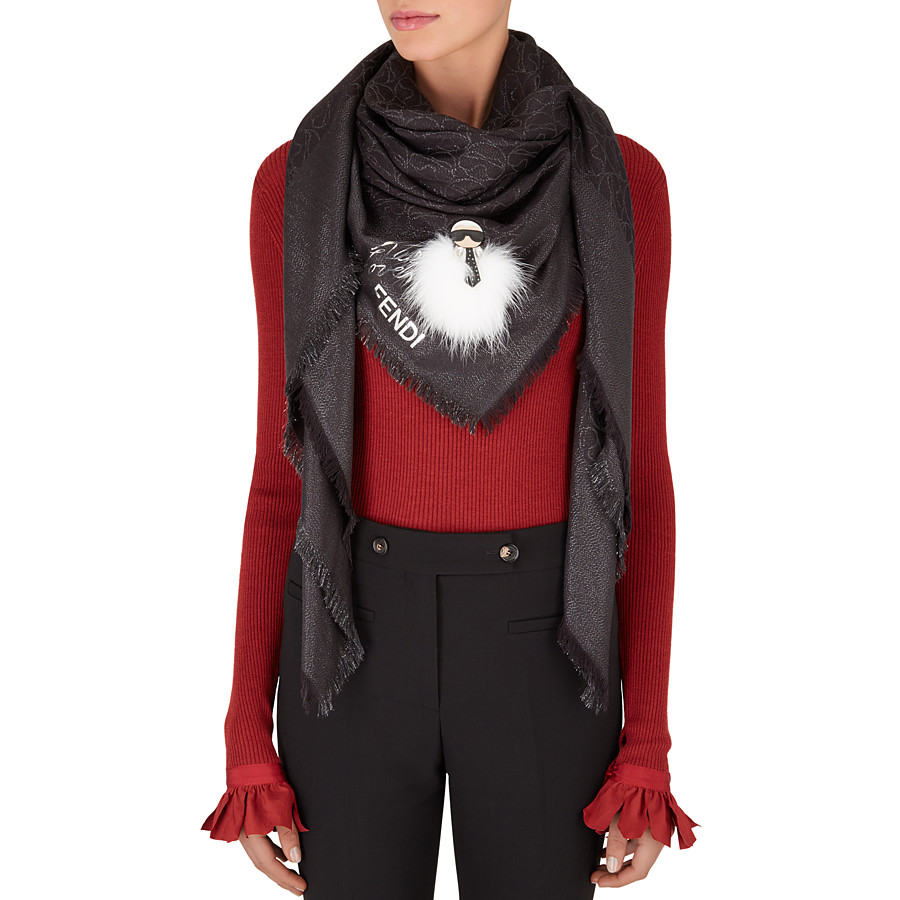 FENDI SHAWL - in black embroidered silk and wool - view 3 detail