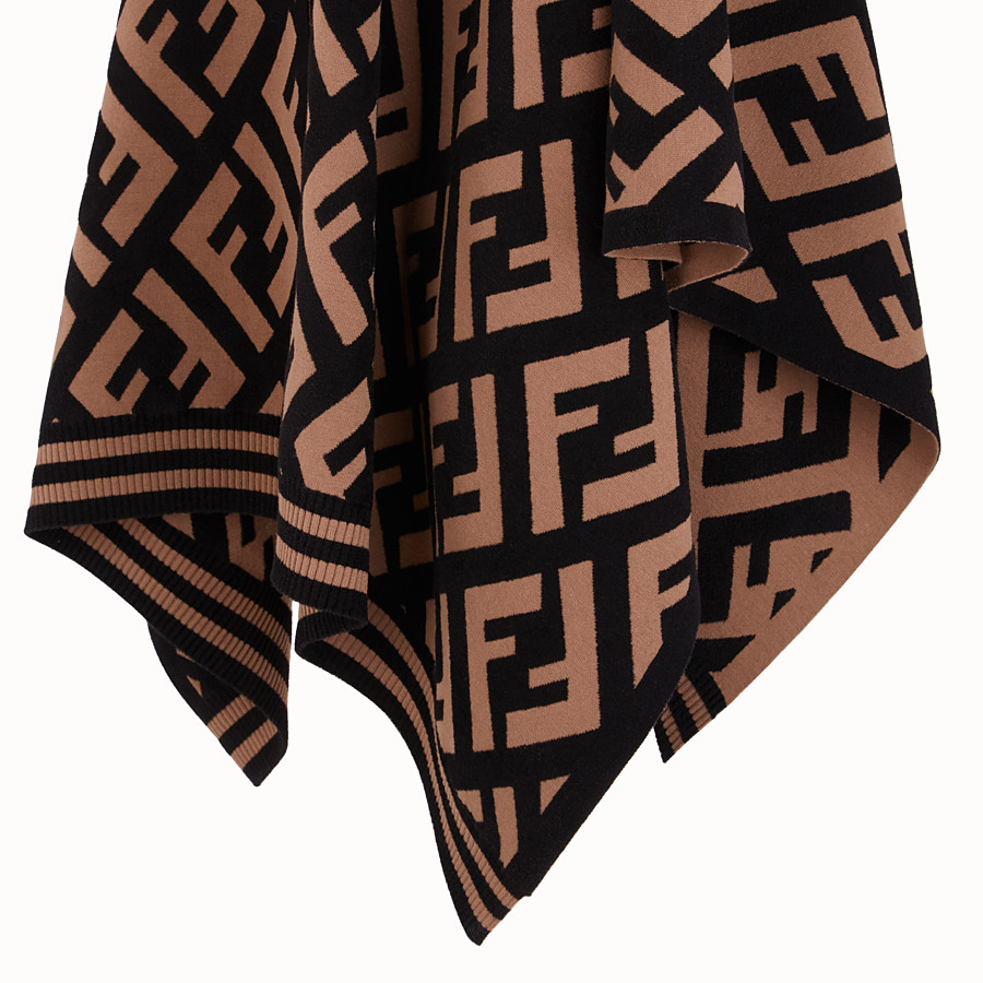 FENDI FF PONCHO - Brown knit poncho - view 3 detail
