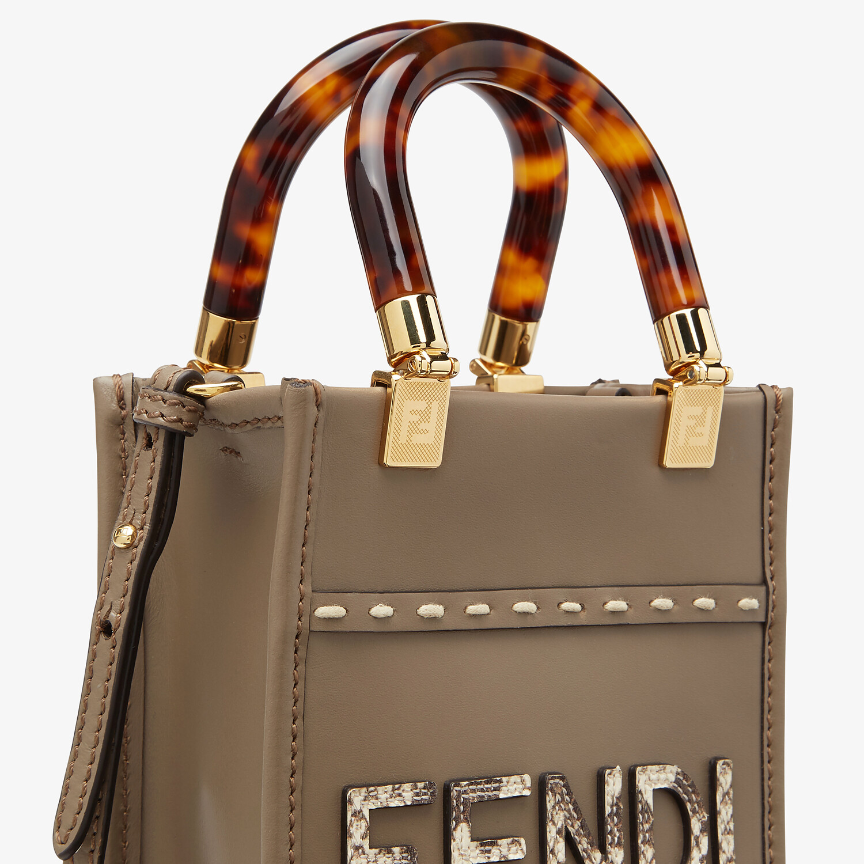 FENDI MINI SUNSHINE SHOPPER - Gray leather and elaphe mini-bag - view 6 detail