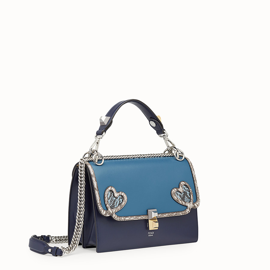 FENDI KAN I - Blue leather bag with exotic details - view 2 detail
