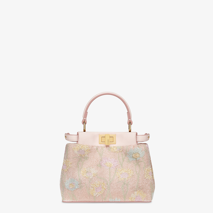 FENDI PEEKABOO ICONIC XS - Mini bag with pink embroidery decoration - view 1 detail