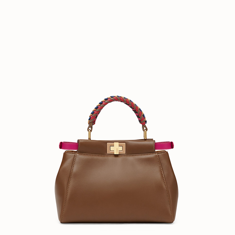 FENDI PEEKABOO MINI - Brown leather bag - view 3 detail