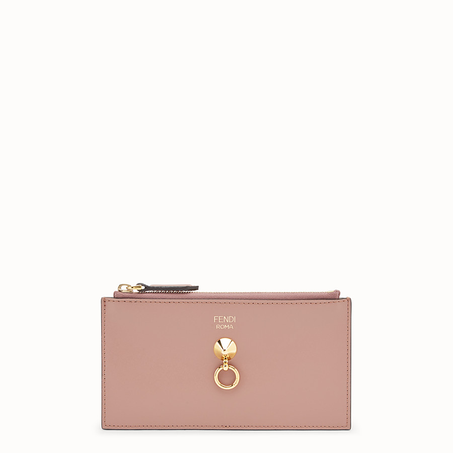 FENDI CARD POUCH - Pink leather pouch - view 1 detail