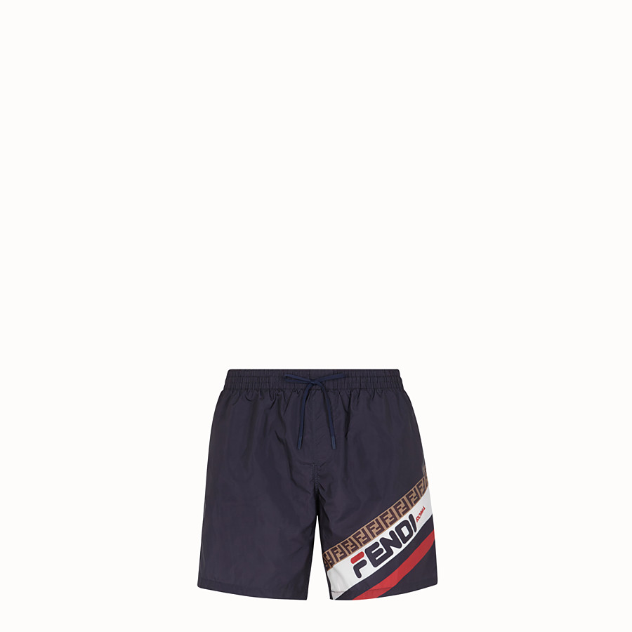 FENDI SWIM SHORTS - Blue tech fabric swimsuit - view 1 detail