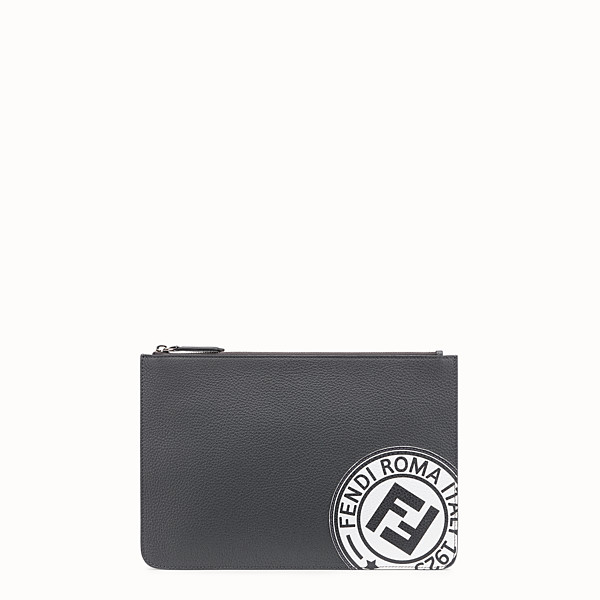 FENDI POUCH - Grey leather pochette - view 1 small thumbnail