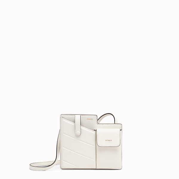 FENDI 2 POCKETS MINI BAG - White leather messenger - view 1 small thumbnail