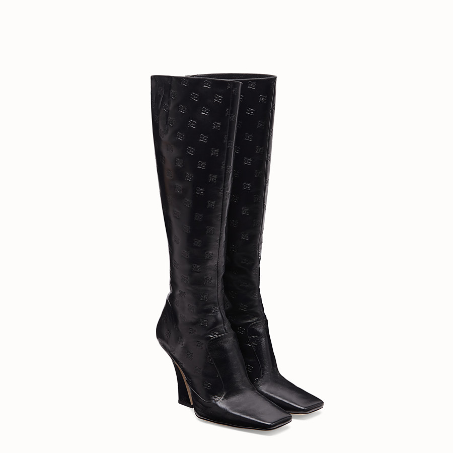 FENDI BOOTS - Black leather boots - view 4 detail