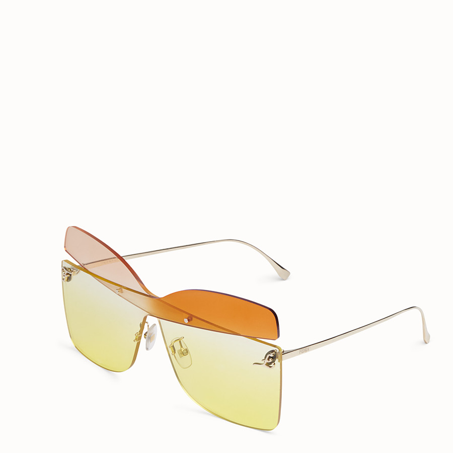 FENDI KARLIGRAPHY - Golden, pink, and orange-colored sunglasses - view 2 detail