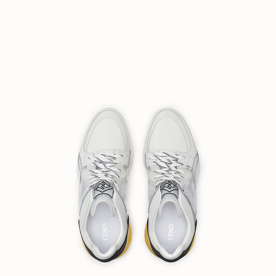 FENDI SNEAKERS - White technical mesh, leather and vinyl sneakers - view 4 detail