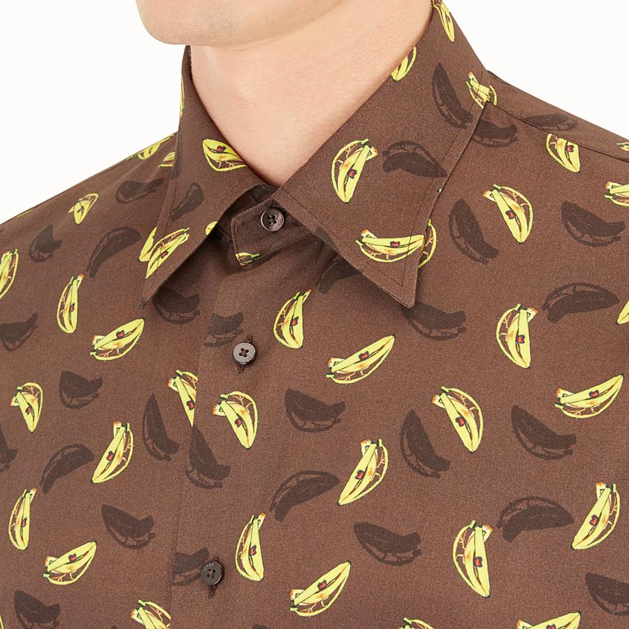 FENDI CAMICIA - Camicia in tessuto marrone - vista 3 dettaglio