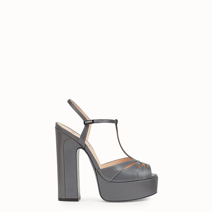 FENDI SANDALS - Grey leather sandals - view 1 detail