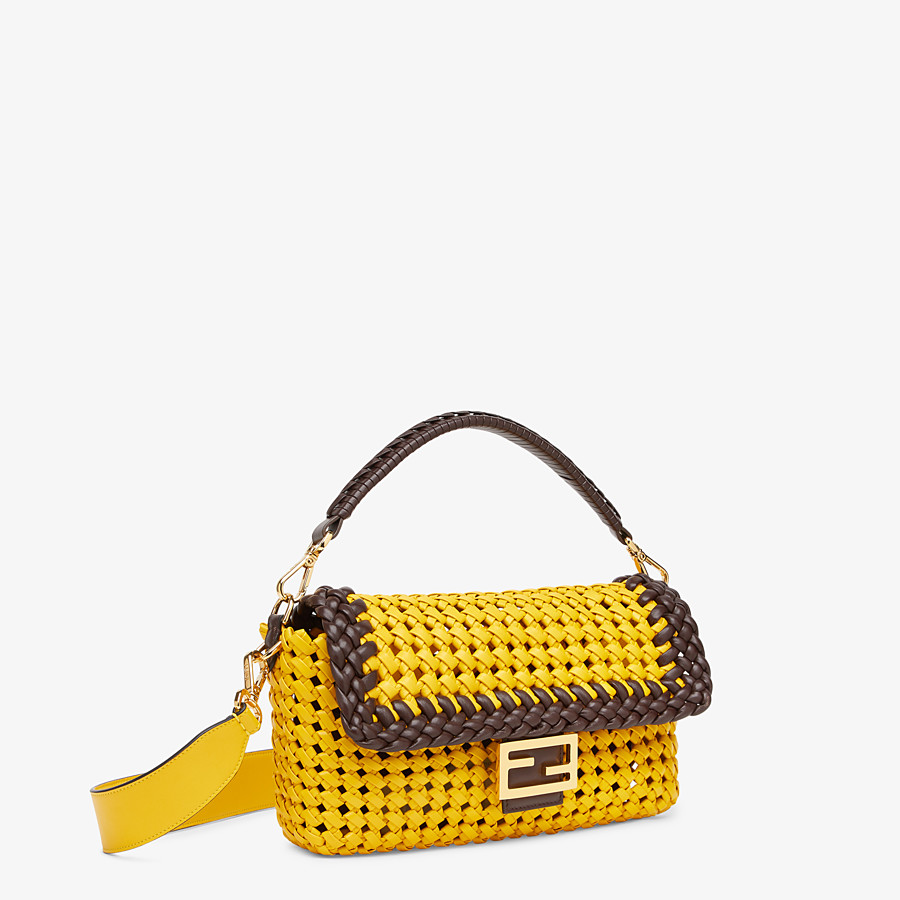 FENDI BAGUETTE - Yellow leather interlace bag - view 2 detail