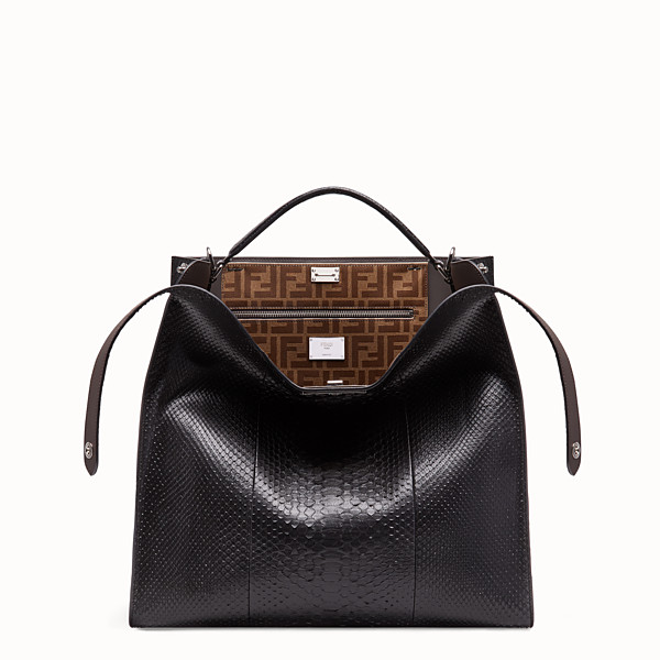 FENDI PEEKABOO X-LITE MEDIUM - Black python leather bag - view 1 small thumbnail