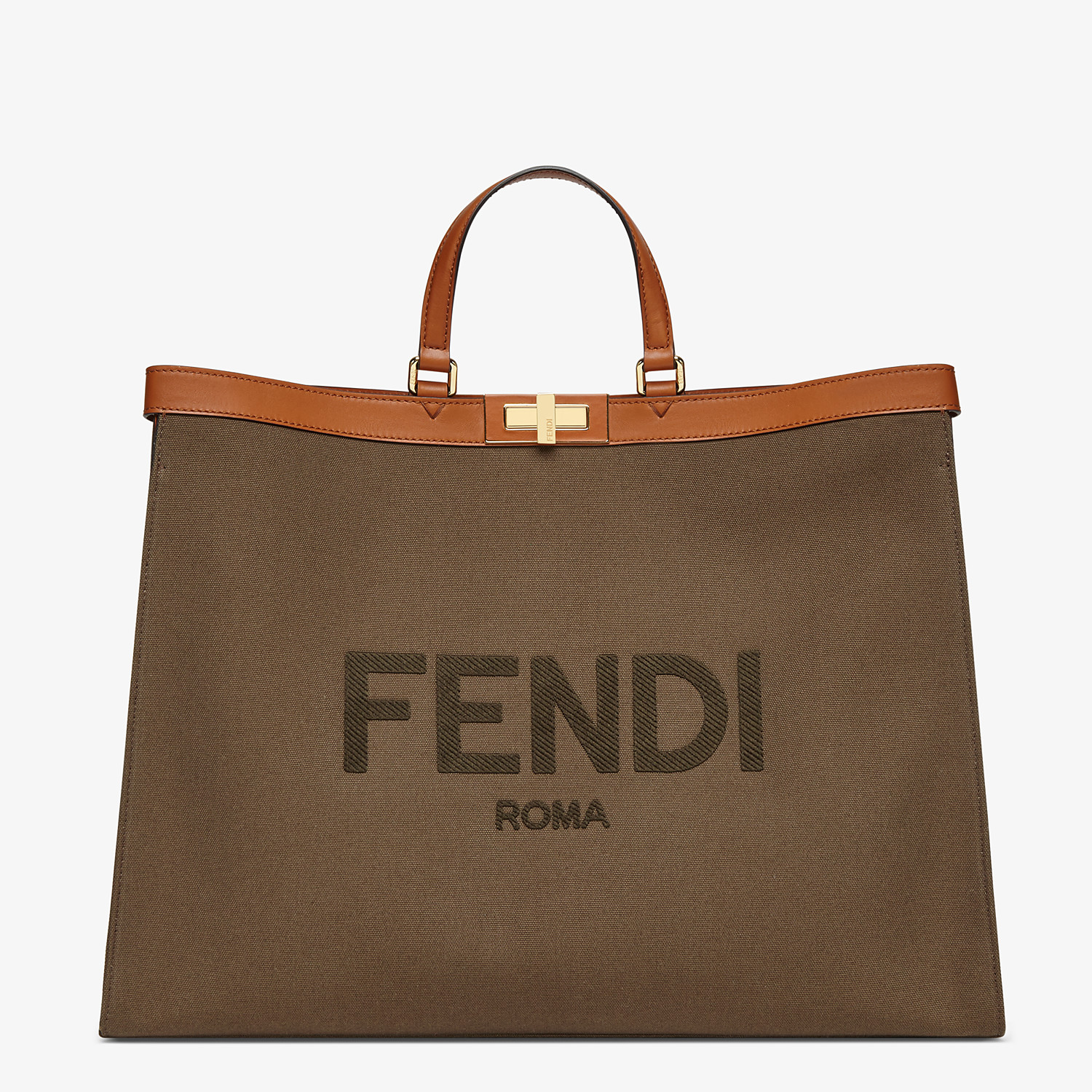FENDI PEEKABOO X-TOTE LARGE - Green canvas shopper - view 1 detail
