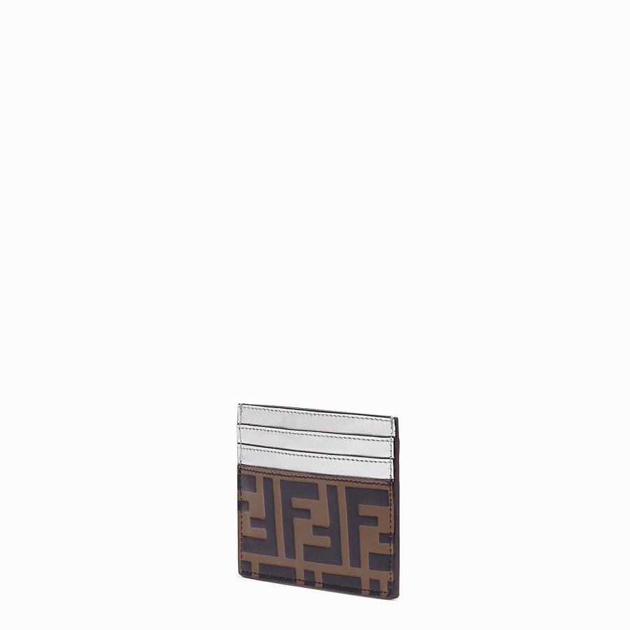 FENDI CARD HOLDER - Flat, silver leather cardholder - view 2 detail