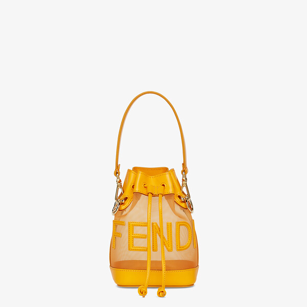 Orange leather and mesh mini-bag