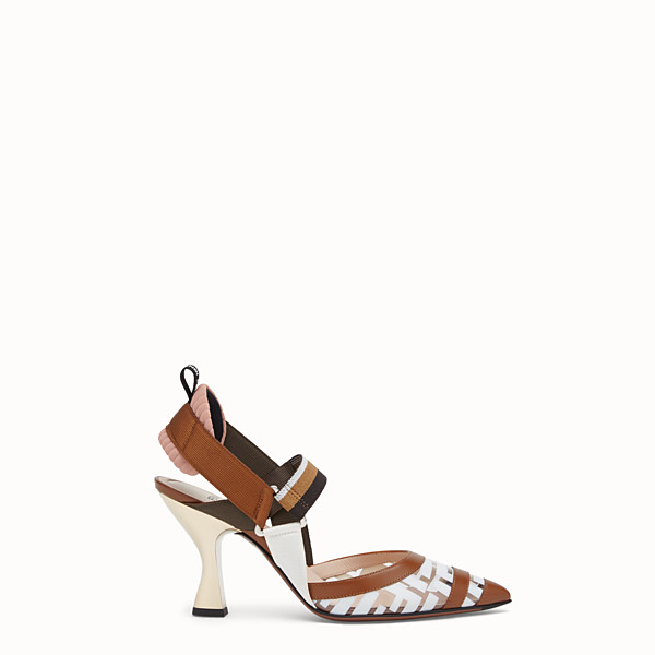FENDI COURT SHOES - Slingbacks in PU and white leather - view 1 small thumbnail