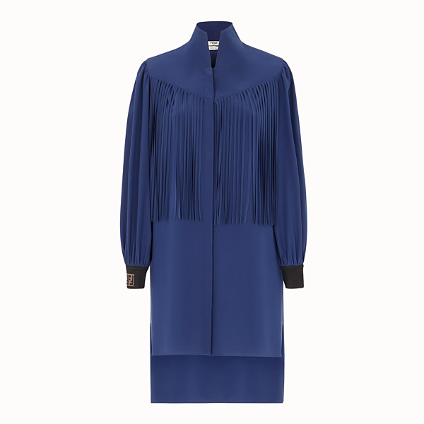 FENDI SHORT DRESS - Blue crêpe de Chine mini dress - view 1 small thumbnail