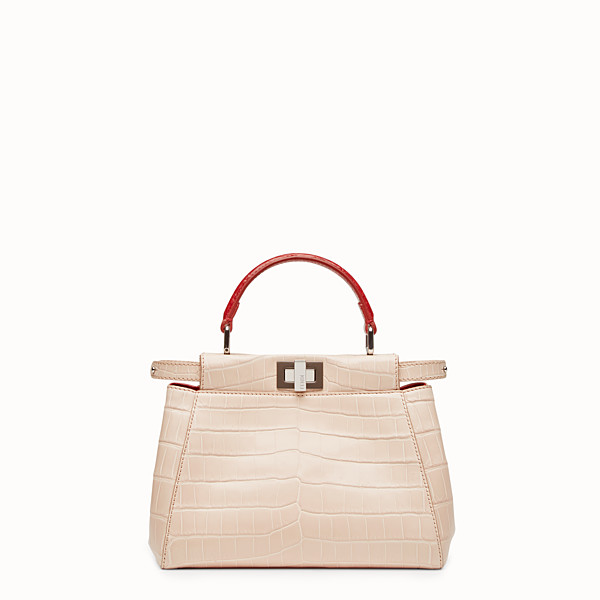 FENDI PEEKABOO MINI - Pink crocodile leather handbag. - view 1 small thumbnail