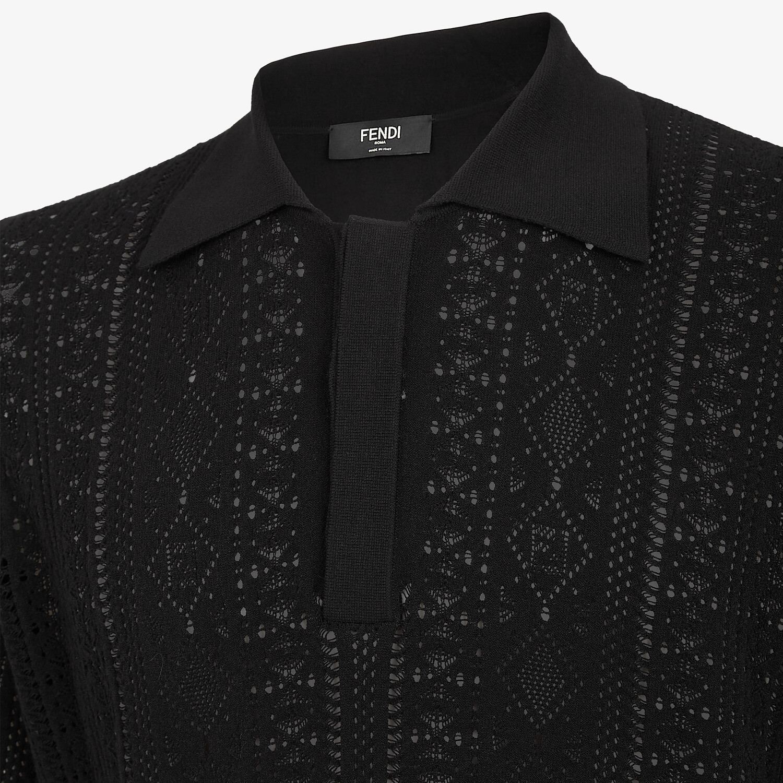 FENDI POLO SHIRT - Black viscose polo shirt - view 3 detail