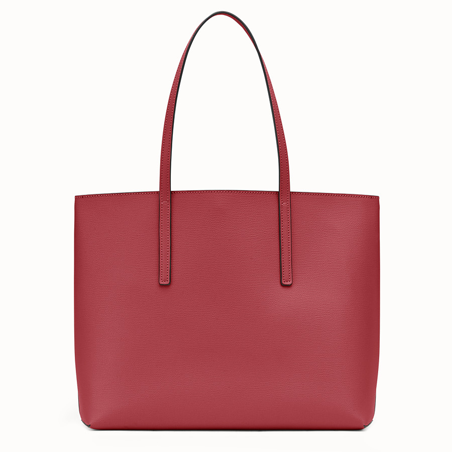 FENDI SHOPPER - Red leather shopper bag - view 3 detail