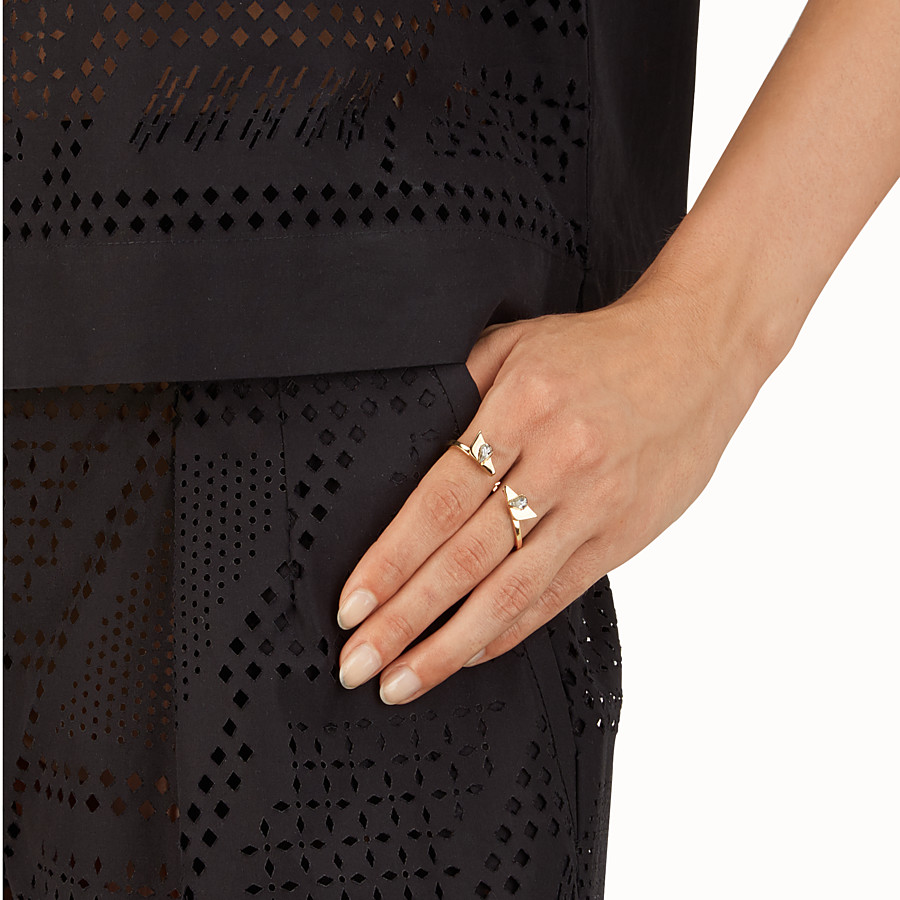 FENDI CRYSTAL WONDERS RINGS - double metal rings with rhinestones - view 2 detail