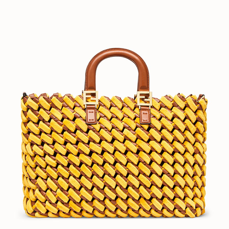 FENDI FF TOTE LARGE - Yellow nappa leather and mink bag - view 1 detail