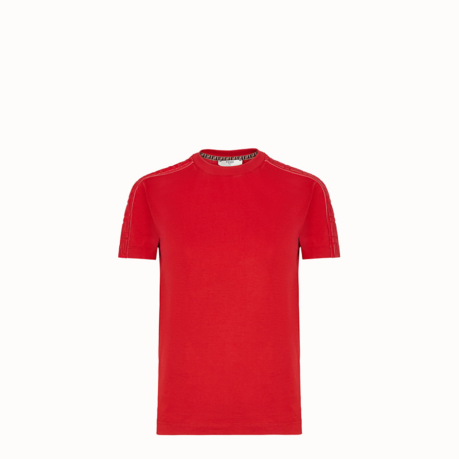 FENDI T-SHIRT - Red jersey T-shirt - view 1 detail