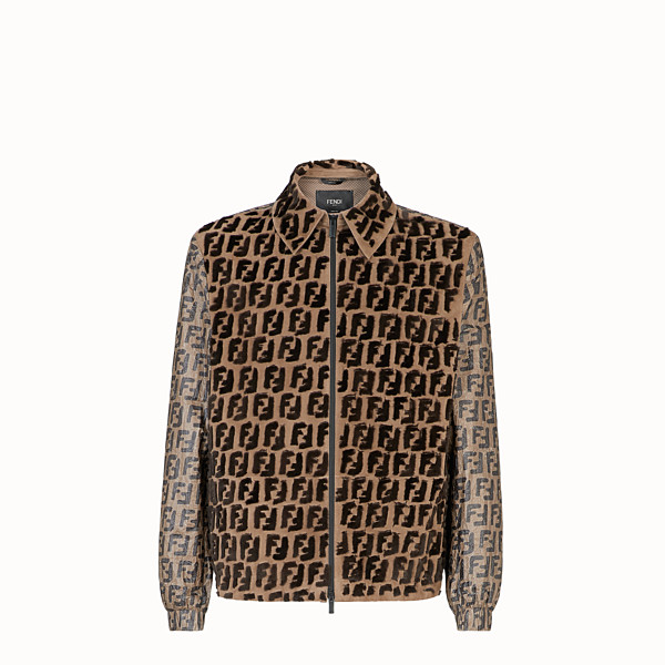 FENDI BLOUSON JACKET - Brown jacket in paper effect fabric - view 1 small thumbnail