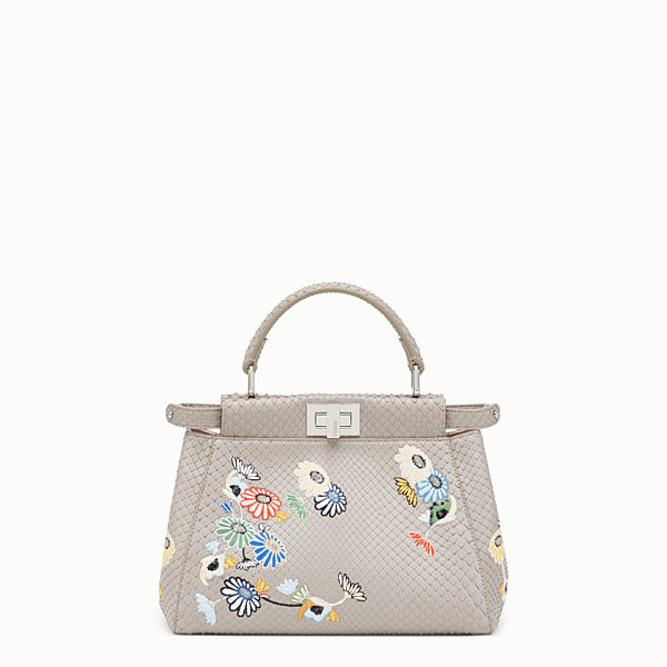 FENDI PEEKABOO MINI - White python leather bag - view 1 small thumbnail